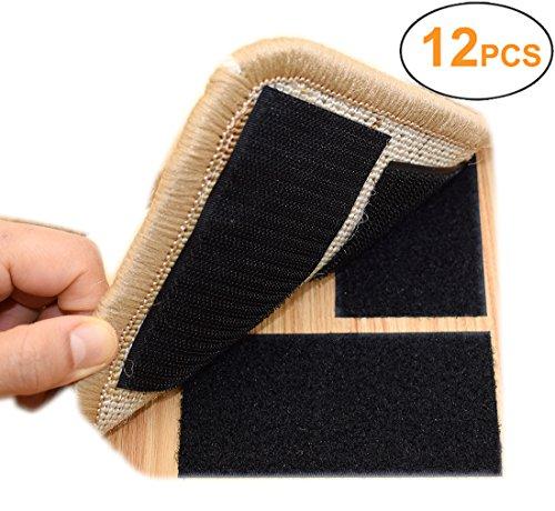 Yorwe Rug Anchors Carpet Hook and Loop Non-slip Mat Anti-skid Stickers Rectangle (12PCS, Black)