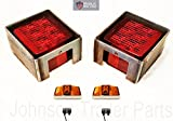 Submersible LED Box Stop Turn Tail Lights, Protective Steel Light Boxes & Amber Clearance Side Markers w/ Chrome Bases for Trailer Truck RVs (Under 80