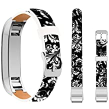 Fitbit Alta HR Bands for women,Ecute Replacement Band Fitbit ALTA/Fitbit ALTA HR Leather Bands Strap For Fitbit ALTA 2/Fitbit ALTA HR Watch - 2018 White Leaves