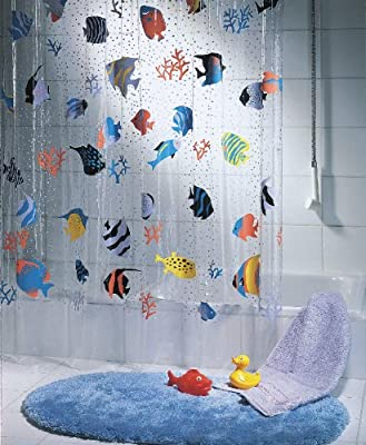 Spirella Fish PEVA Clear Plastic Shower Curtain 180 X 200 Cm Blue Orange Yellow Black Green