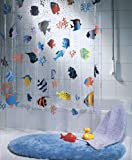 Clear Shower Curtain with Fish Spirella Fish PEVA Clear Plastic Shower Curtain, 180 x 200 cm, Blue/ Orange/ Yellow/ Black/ Green
