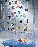 Clear Vinyl Fish Shower Curtain Spirella Fish PEVA Clear Plastic Shower Curtain, 180 x 200 cm, Blue/ Orange/ Yellow/ Black/ Green