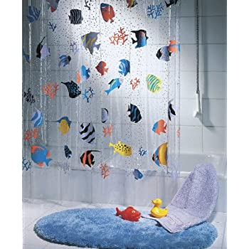 Amazoncom Spirella Goldfish Orange Shower Curtain 71x79in