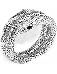 Vintage Retro Punk Rhinestone Curved Stretch Snake Cuff Bangle Bracelet