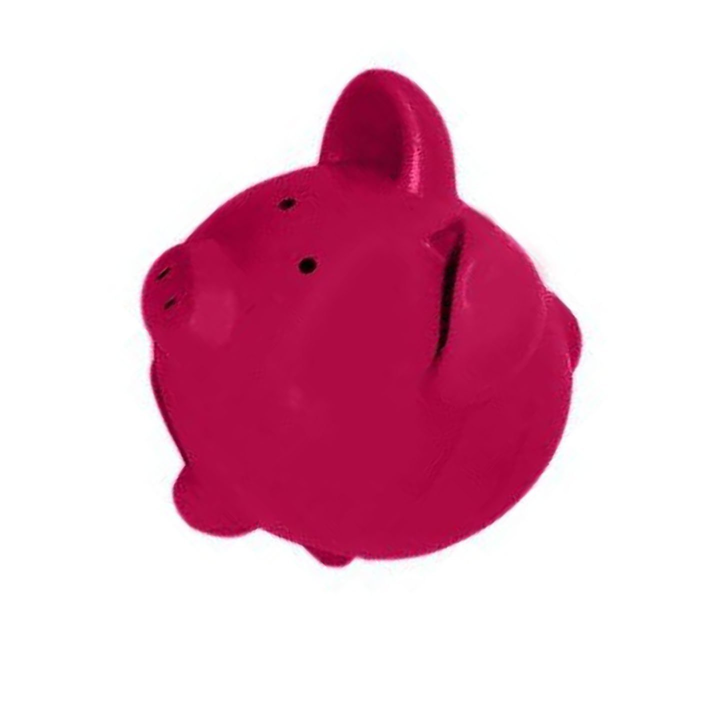 """Completely Custom {13"""" x 13'' Inch} 1 Single Large, Coin & Cash Bank Decoration for Holding Money, Made of Grade A Genuine Ceramic w/ Contemporary Solid Matte Bank Piggy Style {Magenta & Black}"""