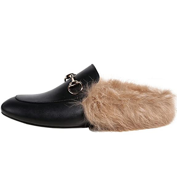 325101ba55c ENMARER Womens Loafers Shoes with Soft Fur Retro Slippers Flats Round Toe   Amazon.com.au  Fashion