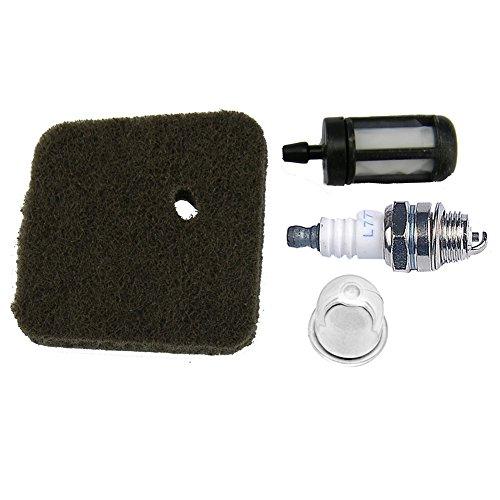 (HIPA Spark Plug + Fuel Filter + Air Filter + Primer Bulb for STIHL FC55 FS38 FS45 FS46 FS55 HS45 KM55 HL45 String Trimmer Brush Cutter 4140 124 2800)