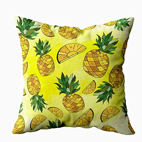 (20x20 Pillow Case,Father Gift,Cushion Soft Home Sofa Decorative Throw Pillow Cases Douecilsh Yellow Pineapples Watercolor Background Repeat Great Fabric Packaging Pattern Wallpaper Double Printed)