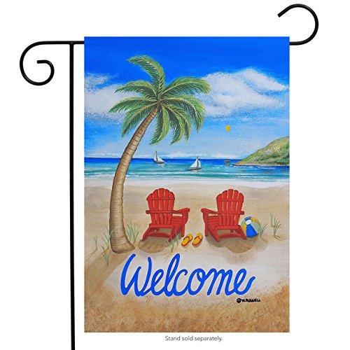 Beach Summer Garden Flag Adirondack Chairs Palm Tree Tropica