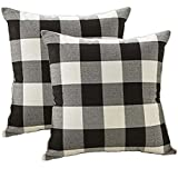 4TH Emotion Farmhouse Decor Black and White Buffalo Checkers Plaids Linen Throw Pillow Cover Cushion Case Home Decorative for Sofa 18 x 18 Inch, Set of 2