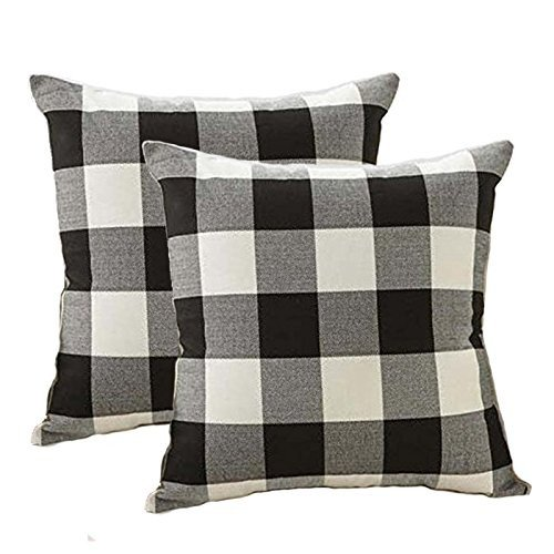 Throw Pillow Covers Fabric - 4TH Emotion Farmhouse Decor Black and White Buffalo Checkers Plaids Linen Throw Pillow Cover Cushion Case Home Decorative for Sofa 18 x 18 Inch, Set of 2
