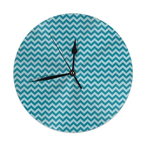 monogram doormat Wall Clock Silent Non Ticking,Zigzags in Sea Colors Ocean Waves Nautical Theme Sailboat Decor Sea Breeze Clock for Home Bedroom Office Diameter 9.84""
