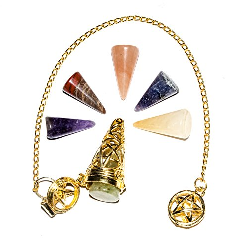 YATHABI Brass Metal Mix Chakra Gemstone Dowsing Pendulum Perfect for Reiki  Healing Divination Meditation Peace of Mind Chakra Balancing with 7 Inch