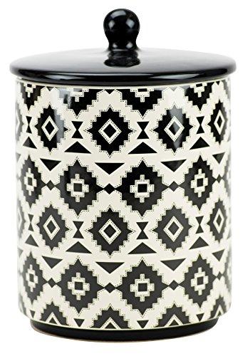 Boston Warehouse 89915 Bohemian Print Cookie Jar, Black and White - Treat Jar Black And White