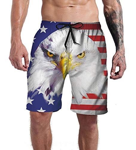 Mens 4 July Bathing Suits Summer Holiday Beach Independence Day American Flag Cool Novelty Patriotic USA Swim Trunks White Board Shorts XL
