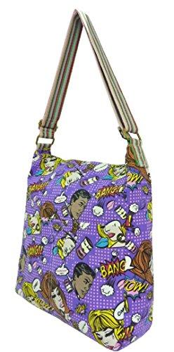 Sloch Collage Bag Color Purple Girly Handbags Multi Messenger Print Cotton Shoulder Ladies Comics Bag H0Zv0Iq