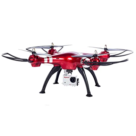 Syma X8HG RC Quadcopter Drone 2.4G 4CH 6-Axis with 8MP Camera, Headless Mode, 100M Control Distance, Barometer Altitude Hold Mode, 2000mAh Battery - Red Remote Controlled Drones at amazon