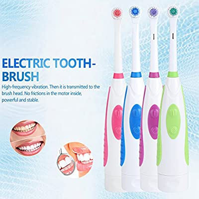 Electric Toothbrush Battery Power Round Brush Head Travel Electronic Whitening Cleaning Tooth Oral Care 3 Replacement heads