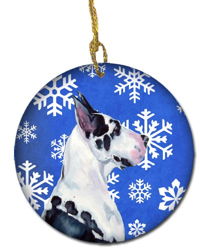 3 in Multicolor Caroline/'s Treasures LH9281-CO1 Great Dane Winter Snowflake Holiday Ceramic Ornament LH9281 Carolines Treasures LH9281-CO1 Great Dane Winter Snowflake Holiday Ceramic Ornament LH9281