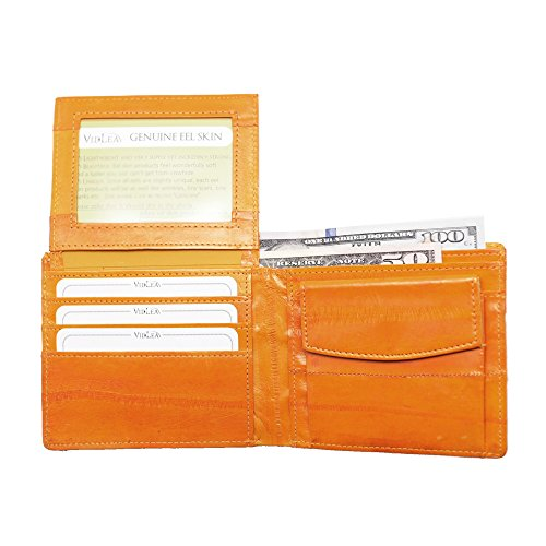 Vidlea Genuine Eel Skin Leather Bifold Wallet Compact Flip UP Slimfold Wallet with Coin Pocket (UP Orange) ()