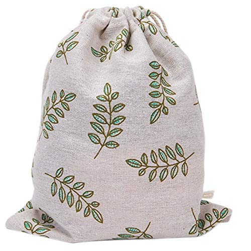 Tcplyn Premium Quality - Multi-Purpose Reusable Ecological Muslin Drawstring Bag, Cinch Bag, Canvas Bag. Large Capacity Storage - Green Olive Leaves, Cotton, Feuilles d'olive verte, 32X25cm