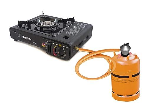 Hornillo camping gas para caravana, barco con conexion para botella de butano grande y botella pequeña: Amazon.es: Bricolaje y herramientas