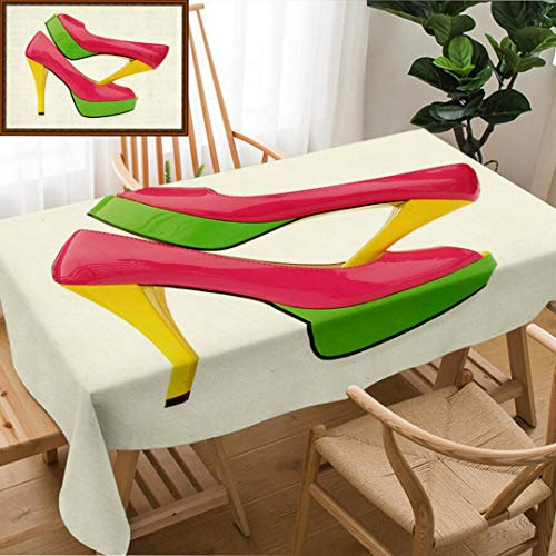 Skocici Unique Custom Design Cotton and Linen Blend Tablecloth Pink Green Yellow High Heels Open Toe Pump ShoesTablecovers for Rectangle Tables, 70