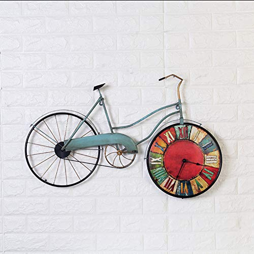 Wall Clock Wall Mount,Vintage Wrought Iron Bicycle Wall Clock,Creative Home Living Room Bedroom Wall Decoration Wall Clock-A ()