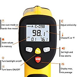 Innens Dual Laser Infrared Thermometer Non-Contact Digital Temperature Gun -58?~ 1022?, Adjustable Emissivity, Designed for Cooking/Brewing/Automobile/Industries (Black/Yellow)