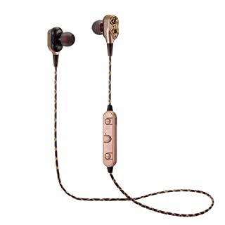 Cuffie Bluetooth 4.2, auricolari in-ear sportivi, Dual Dynamic Driver, cuffie stereo Bluetooth, senza fili, per i più grandi smartphone 7x7x3cm Rot