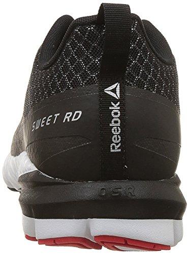 Reebok OSR Sweet Rd Se, Scarpe da Running Uomo Nero/Carbone/Bianco/Rosso (Black / Coal / White / Dayglow Red)