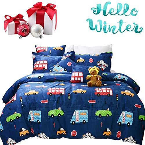 Brandream Boys Bedding Set Queen Size Blue Cars Pattern Toddler Kids Duvet Cover Set 3-Piece(No Comforter Included)