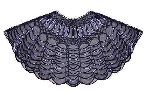 FAIRY COUPLE 20s Beaded Sequin Wrap Evening Shawl Flapper Cape Glitter W20S002(Navy Blue) by FAIRY COUPLE