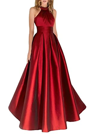 Baijinbai Womens A Line Evening Dresses with High Neck Backless Long Prom Dress Gown Burgundy UK20