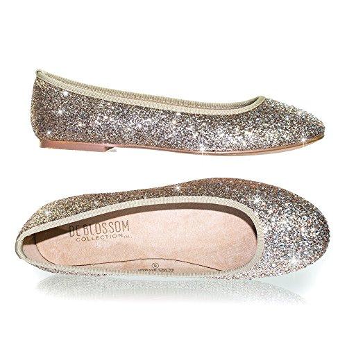 Womens Round Toe Ballet Flats with Iridescent Rhinestone Studs on Glitter Vamp Blossom Champagne pPTiqO