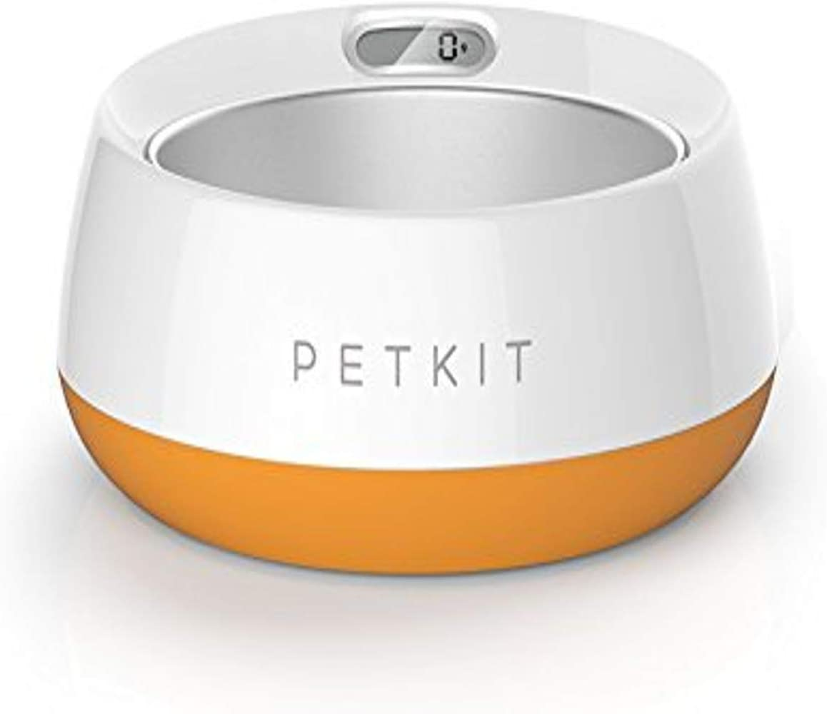 PETKIT 'FRESH METAL' Large Anti-Bacterial Machine Washable Smart Food Weight Calculating Digital Scale Pet Cat Dog Bowl Feeder w/ Inlcuded Batteries and Ejectable Stainless Bowl, One Size, Orange
