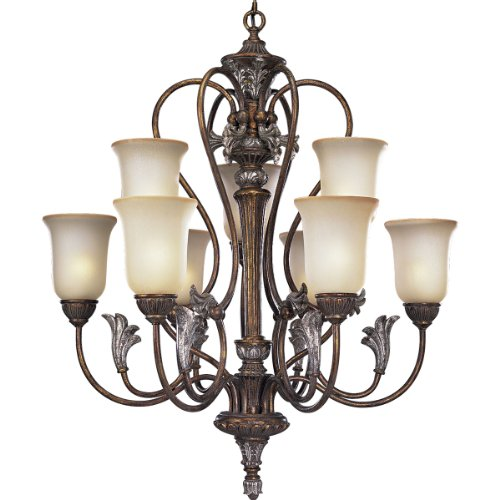 Progress Lighting P4087-55 2-Tier 9-Light Chandelier with Antique Seeded Etched Glass, Tuscany Crackle ()
