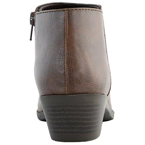 DailyShoes Damen Western Cowboy Booties Komfortable Blockabsatz Spitze Stilvolle Stiefeletten Brauner Pu
