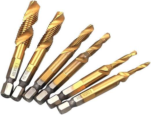 6pcs M3-M10 Hex Shank Titanium Plated HSS Screw Thread Metric Tap Drill Bits Hot