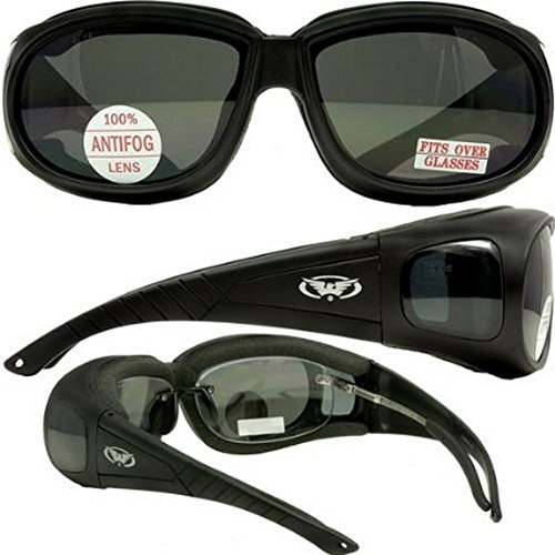 e3308fe616 Motorcycle Safety Sunglasses Over-Prescription Rx Glasses Smoke Meets ANSI  Z87.1 Standards For Safety Glasses Has Soft Airy Foam Padding (B0026I70OS)  ...