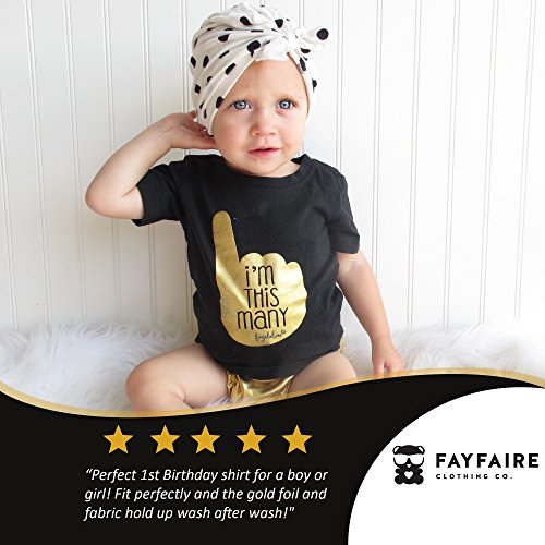 Fayfaire First Birthday Shirt Outfit: Boutique Quality 1st Bday I'm This Many 18M by Fayfaire (Image #2)