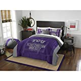 3 Piece TCU Horned Frogs Comforter Set Full/Queen Size, Team Logo Print Unisex Sports Fan College Dorm Bedding, Texas Christian University American Football Fandom, Sport Lover Athletic, Purple, Grey
