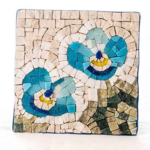 Flores No Me Olvides Kit mosaico 14x14 cm (Teselas cristal y mosaico mármol italiano) - Idea regalo hazlo tu mismo - Regalo original para mujeres - Mosaicos manualidades