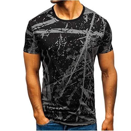 KINGOL Mens Striped T Shirt Pattern Casual Fashion Lapel Gradient Short Sleeve Shirt Gray