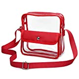 iSPECLE Clear Purse, Clear Stadium Bag Approved for Casino, NFL, PGA, NCAA, Adjustable 4.92ft Shoulder Strap for Women Girl, Red