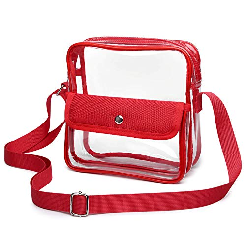 iSPECLE Clear Purse, Clear Stadium Bag Approved for Casino, NFL, PGA, NCAA, Adjustable 4.92ft Shoulder Strap for Women Girl, Red by iSPECLE (Image #7)