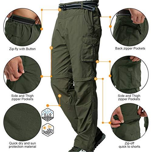 Hiking Pants Mens Convertible Quick Dry Lightweight Zip Off Outdoor Fishing Travel Safari Capri Pants