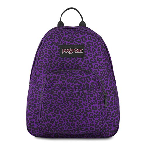 JanSport Half Pint Mini Backpack - Ideal Day Bag for Travel & Sightseeing | Purple Leopard Life Print