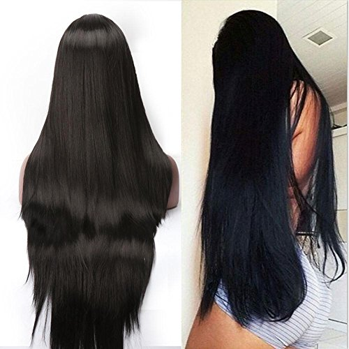 L Part Synthetic Lace Front Wigs For Women High Density Jet Black Front Lace (Jet Lace Wig)