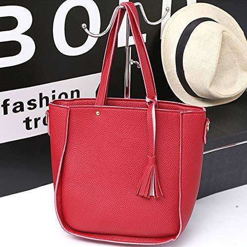 Handbag Bag Women's Refaxi Four Fashion Shoulder Bag Messenger pink piece Red Tassel x7Y7TpqwZ